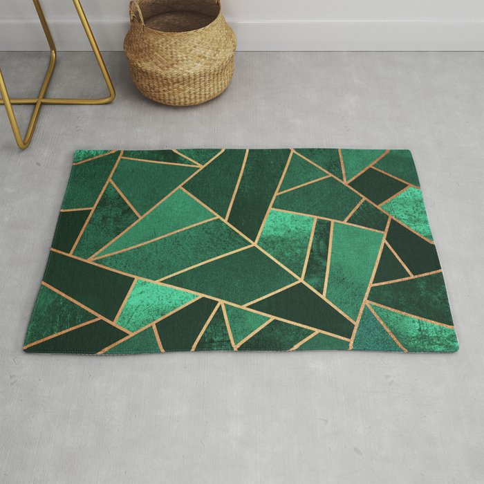 Emerald And Copper Rug By