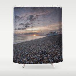 Hythe Beach at Sunset Shower Curtain