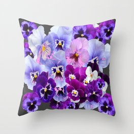 GREY VARIEGATED SPRING COLLECTION  PANSIES Throw Pillow