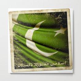 Islamic Republic of Pakistan grunge sticker flag Metal Print