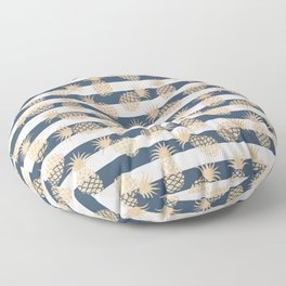 Nautical modern navy blue white stripes blush beige pineapple Floor Pillow