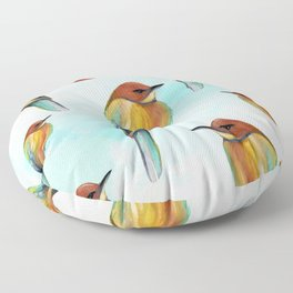 Watercolor Bird Pattern - Multicolor Feathers - Abstract Blue Sky Floor Pillow