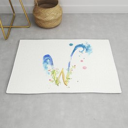 Letter W watercolor - Watercolor Monogram - Watercolor typography - Floral lettering Rug