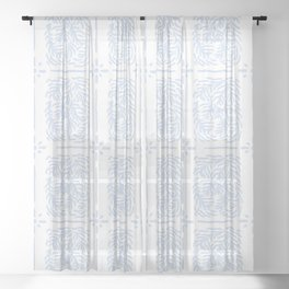 Coral Whispers, BabyBlue Sheer Curtain