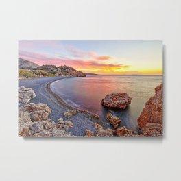 Sunrise at the famous beach Mavra Volia in Chios island, Greece Metal Print