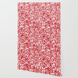 Small Spots - White and Fire Engine Red Wallpaper
