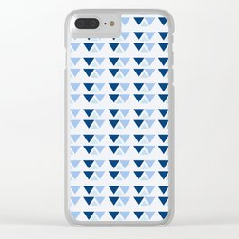 Blue triangles pattern Clear iPhone Case