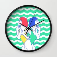 girls Wall Clocks featuring Girls by afrancesado