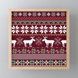 Vintage Christmas Knitted Ugly sweater illustration Pattern. Festive Fair isle Design. Christmas knitted pattern Framed Mini Art Print