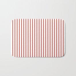 Dahlia Red Pinstripe on White Bath Mat