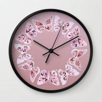 butterflies Wall Clocks featuring Butterflies by Vickn