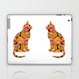 Cat Silhouette With Hibiscus Flowers Inlay Laptop & iPad Skin