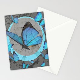 SHABBY CHIC  NEON BLUE BUTTERFLIES  & CHARCOAL GREY  N MOD Stationery Cards