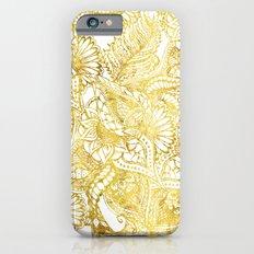 Elegant chic gold foil hand drawn floral pattern iPhone 6s Slim Case