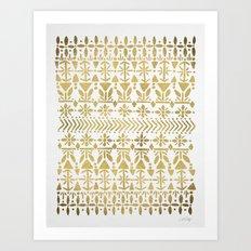 Norwegian Pattern – Gold on White Art Print