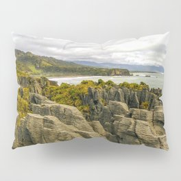 punakaiki pancake rocks with a sea view new zealand Pillow Sham