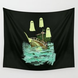 ghost pirate boat Wall Tapestry