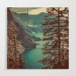 Vintage Blue Crater Lake and Trees - Nature Photography Wood Wall Art