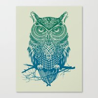 totem Canvas Prints featuring Warrior Owl by Rachel Caldwell