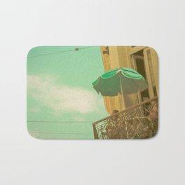 Vintage Turquoise Summer Umbrella (Retro and Vintage Urban Photography)  Bath Mat