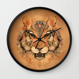 Boho Tribal Tiger Wall Clock