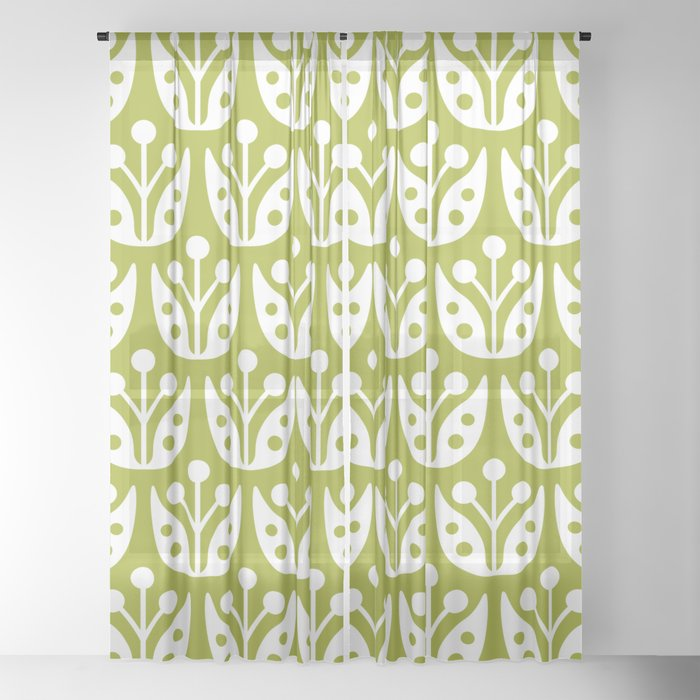 Mid Century Flower Pattern 5 Sheer Curtain