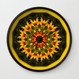 Orange and Yellow Iris 1.1, Floral mandala-style, Flower Mandala Wall Clock