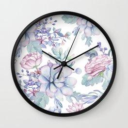 Pretty Blue Pink Succulents Garden Wall Clock