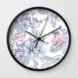Pretty Blue Pink Succulents Garden Wall Clock