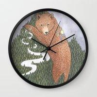 onward Wall Clocks featuring Onward by Alexa Roberts