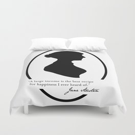 Jane Austen Quote - Large Income is Recipe for Happiness Duvet Cover