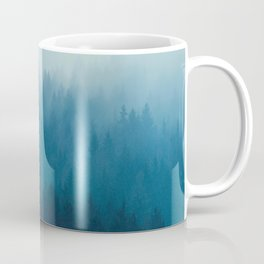Misty Turquoise Blue Pine Forest Foggy Ombre Monochrome Trees Landscape Coffee Mug