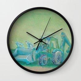 Traktor blue Wall Clock