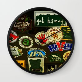 beer sticker party Wall Clock