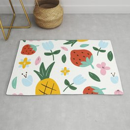 Strawberry and Pineapple hand-painted Rug