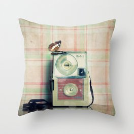 Vintage Camera Love: Pink Kodak Hawkeye Flashfun! Throw Pillow