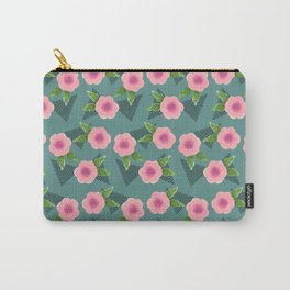 Pink Floral + Stripes | Teal Carry-All Pouch
