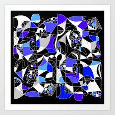 DOODLE WITH BLUE Art Print