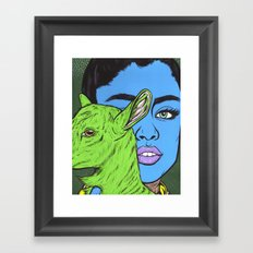 girl with goat Framed Art Print