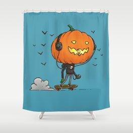 The Skater Pumpkin Shower Curtain