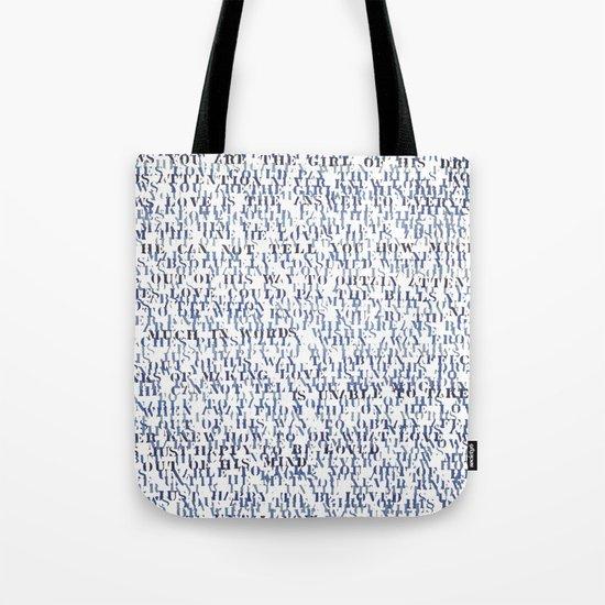 Sentences of Love Blue Tote Bag