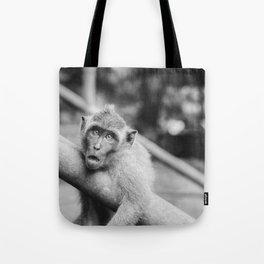 Cute Monkey (Black and White) Tote Bag