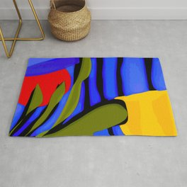 Abstract Art Red Blue Green Yellow Rug