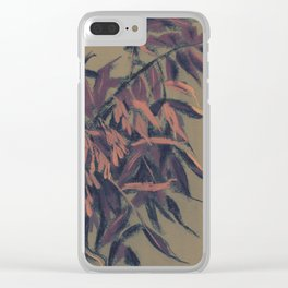 Ash-tree, olive, brown & blush Clear iPhone Case