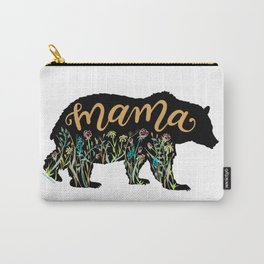 Mama Bear with Pretty Wildflowers Hand Lettering Illustration Carry-All Pouch
