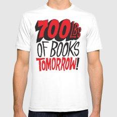 700lbs of Books Tomorrow! White MEDIUM Mens Fitted Tee