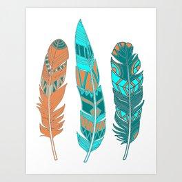 Three Boho Feathers Art Print