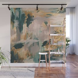 Teal and Gold Abstract- 24K Magic Wall Mural