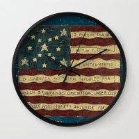 american flag Wall Clocks featuring American Flag by Argi Univrs