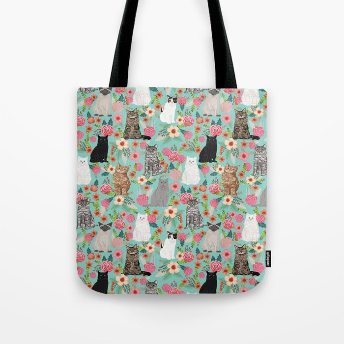 Cats floral mixed breed cat art cute gifts for cat ladies cat lovers pet art Umhängetasche